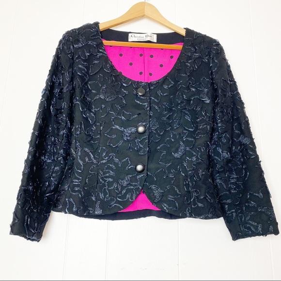 Vintage Christian Dior Black Cropped Jacket